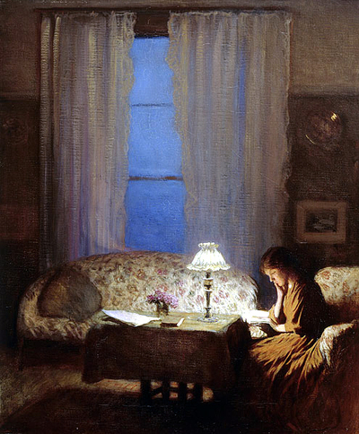 1909_twilight_interior_reading_by_lampli_2